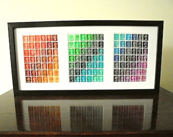 Rainbow Triptych in black frame - recycled British postage stamp art