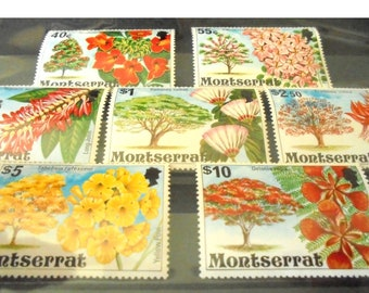 Flowering trees, mint postage stamps from Montserrat | nature foliage blossoms topical postal stamp collection, part set, higher values