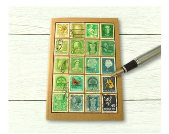 Address Book Month Planner - green turquoise recycled postage stamp collection • ooak gift for penpal, upcycled eco friendly office gift