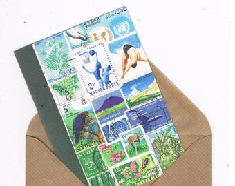High Dive Summer, Wild Swimming Notecard • Postage Stamp Bon Voyage Card