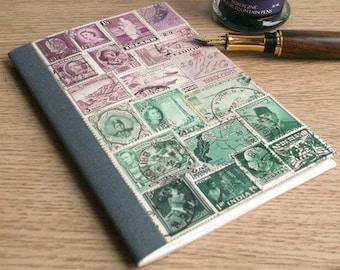Heather Green Travel Journal Notebook • Vintage Stamp Art Collage