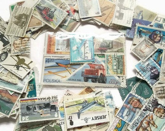 Transport Postage stamps - 20 Planes, Trains & Automobiles + Ships etc | modern + vintage used stamps | craft, collage, upcycling, decoupage