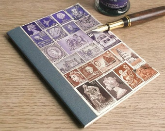 Purple Brown A6 Birthday Book, Address Book - Upcycled Stamps