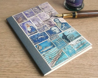 Lavender Blue Upcycled Journal • A6 Stamp Art Notebook