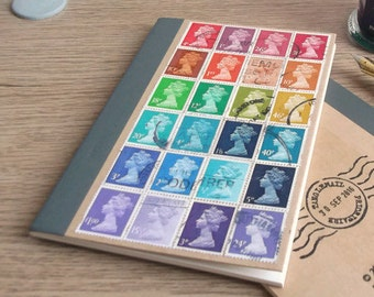 Recycled Rainbow Lined A6 Notebook | Upcycled Stamps Kraft Journal | Vintage British Postage Stamp Mail Art | lgbt penpal stationery gift