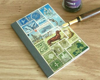 Dachshund Notebook - Dog Lover Journal - Stamp Art Landscape Collage