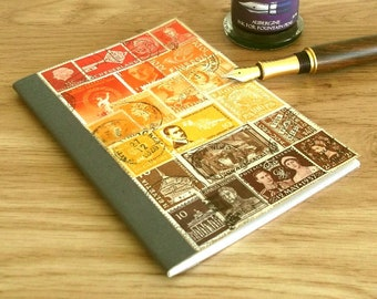 Upcycled Travel Notebook – sunset stamp art journal, a6 lined ruled • recycled postage stamp collage • postal art, boho hippie travel gift