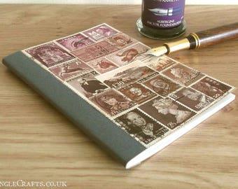 Mauve Brown Pocket Month Planner Notebook • Original Collage Cover