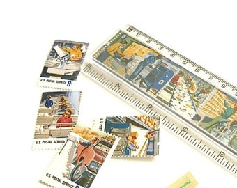 Postal People Postage Stamp Ruler - Retro 1973 US Stamps Gift