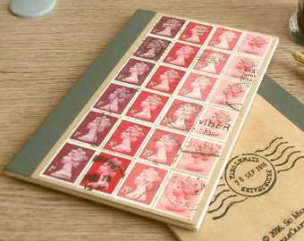 Red A6 Notebook | British Travel Journal, lined writing journal | upcycled GB Machin postage stamps | retro gift for penpal writer office