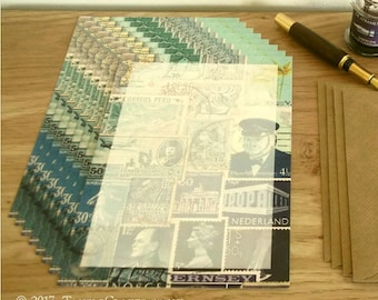 The Blues Notepaper Set • A5 Writing Paper, Postage Stamp Art Design