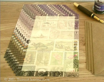 Heather Hills Writing Paper Set • A5 Notepaper, Postage Stamp Art Design