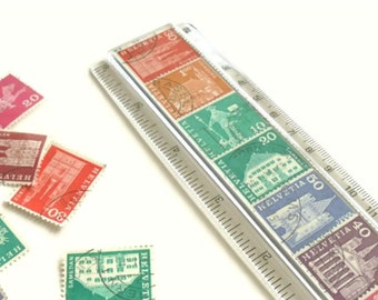 Rainbow Postage Stamp Ruler - Retro Switzerland Stamps