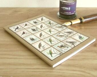 Bird Watcher Notebook, Kenya Travel Journal | Bird Lover Gift, Twitcher, Bird Spotter | Upcycled Vintage Postage Stamps, A6 Kraft Notebook