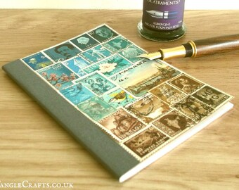 Upcycled Notebook - Turquoise Brown Postage Stamp Art Landscape | Ruled Lined Pocket Notebook | Recycled Vintage World Stamps, Eclectic Gift