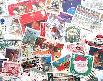 Christmas postage stamps for Crafting - Nativity, Santa, Snowmen, Robins, Christmas Trees