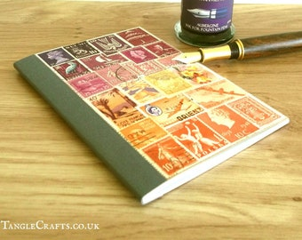 Undated Diary Notebook, unique travel gift • Boho sunset postage stamp art, original postal stamp collage • eco friendly recycled journal