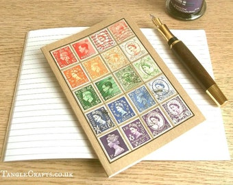 Rainbow British Travel Notebook Journal | Upcycled Philately, Postage Stamp Collector Gift | Made in UK Vintage Definitives Stamp Collection