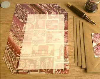 DuskLight Postage Stamp Writing Paper Set • Penpal Letter Paper Set