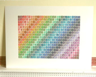 Rainbow Ombre Wall Art - Large British Stamp Collage (made to order)
