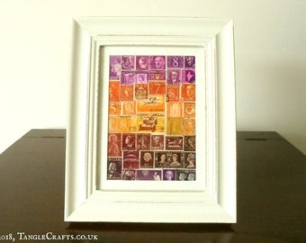 Stamp Art Sunset - Abstract Landscape Wall Art, Framed or Unframed