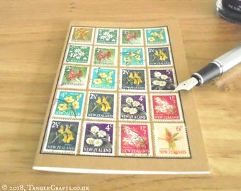 New Zealand Flowers Journal - Stamp Album-style Gardener's Notebook