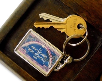Purple & Blue Rainbow Keyring - real 1955 postage stamp from Italy