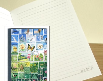 Happy Valley Printed Notebook - Blue Green Postage Stamp Art