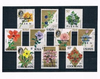 Flower Postage Stamps from Cook Islands - 1967 part set inc 1968, 1971 overprints