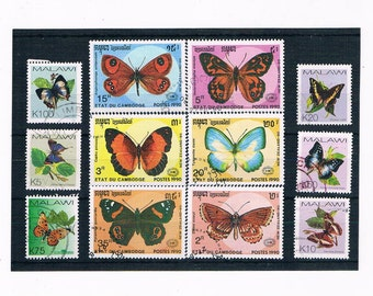 Butterflies on Stamps - part sets Cambodia 1990 & Malawi 2007
