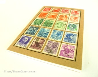 Italy Postage Stamp Notebook, A6 Travel Journal