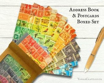 Boxed Address Book & Postcard Set - Landscape Mix, postage stamp art