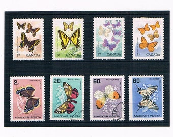 Butterfly Postage Stamps - Canada, 1988 & Hungary, 1966