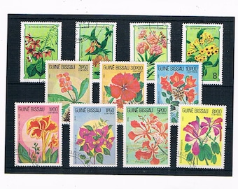 Exotic Flower Postage Stamps from Guinea-Bisseau & Sao Tome et Principe
