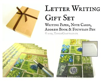 Spring Greens Letter Writing Kit - address book, writing paper, notecards, storage box