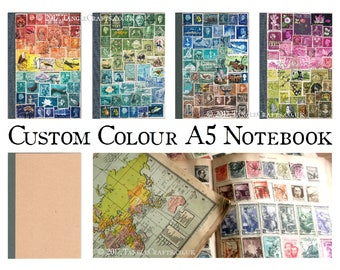 Custom Colour A5 Journal Notebook - Postage Stamp Art Collage Cover