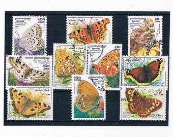 Butterfly Postage Stamps - Cambodia 1999 Set + Afghanistan 1997 part set