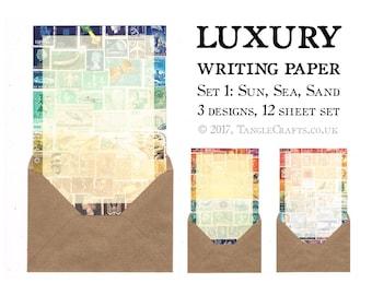 Sun Sea Sand Writing Paper Sampler Set • Postage Stamp Art Letter Set