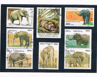 Elephants on Postage Stamps - mixed vintage selection