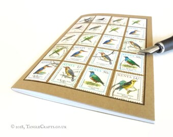 Bird Watcher Notebook, Kenya Travel Journal | Bird Lover Gift, Twitcher, Bird Spotter | Upcycled Vintage Postage Stamps, A6 Kraft Notebook