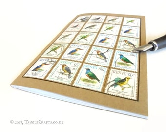 Bird Spotter's Notebook - Album-Style Cover of Kenyan Bird Stamps