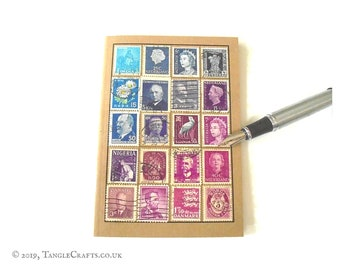Blue purple travel notebook - vintage stamp album cover