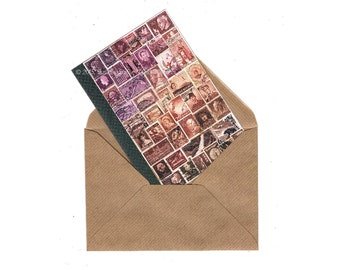 Cocoa Dusk Notecard • Boho Postage Stamp Collage Art • blank note card