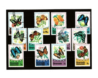Butterfly Stamps Collection | vintage butterflies, 1970s grenada postal stamp selection | stamps for papercraft, collage, philately etc