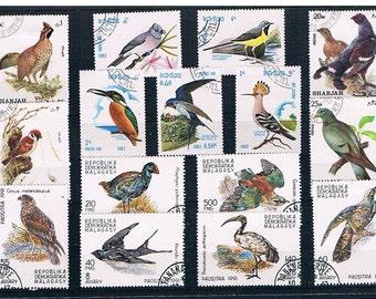 Bird Stamp Selection - part sets from Madagascar (1991), Laos (1982), Sharjah (1972)