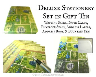 Luxury Letter Writing Set in Gift Tin - address book, writing paper, notecards, labels