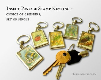 Countryside Insects Keyring Set - real 1985 GB postage stamps