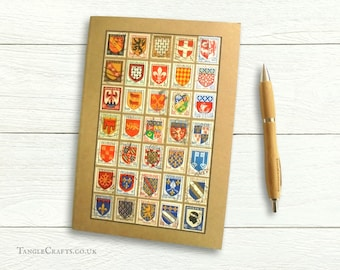 French Heraldry Travel Notebook - A5 Journal decorated with vintage stamps