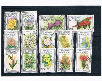 Flowers on Postage Stamps from Trinidad & Tobago, 1980s