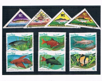 Vintage Fish Stamps - Mongolia triangles 1962-1965 & Vietnam 1987